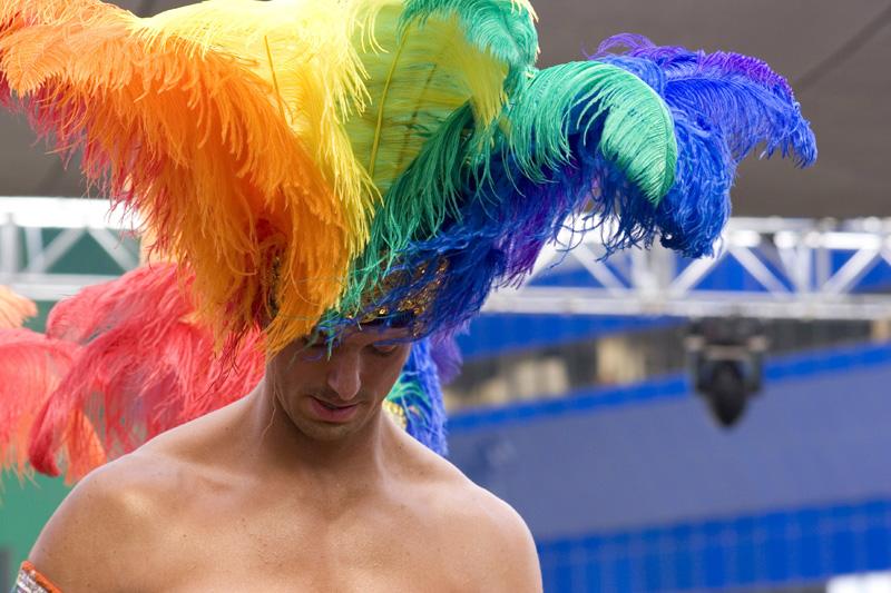 Paula Combs Photo Combs Rainbow Headress © Paula L. Combs